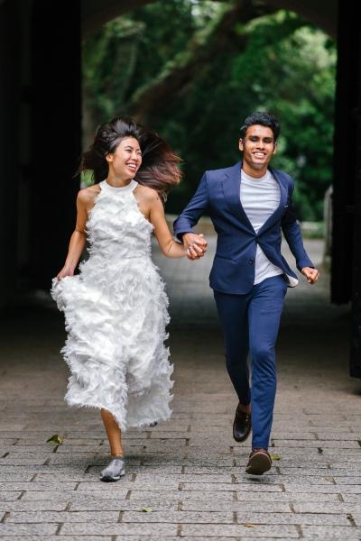 Wedding Couple Run Away